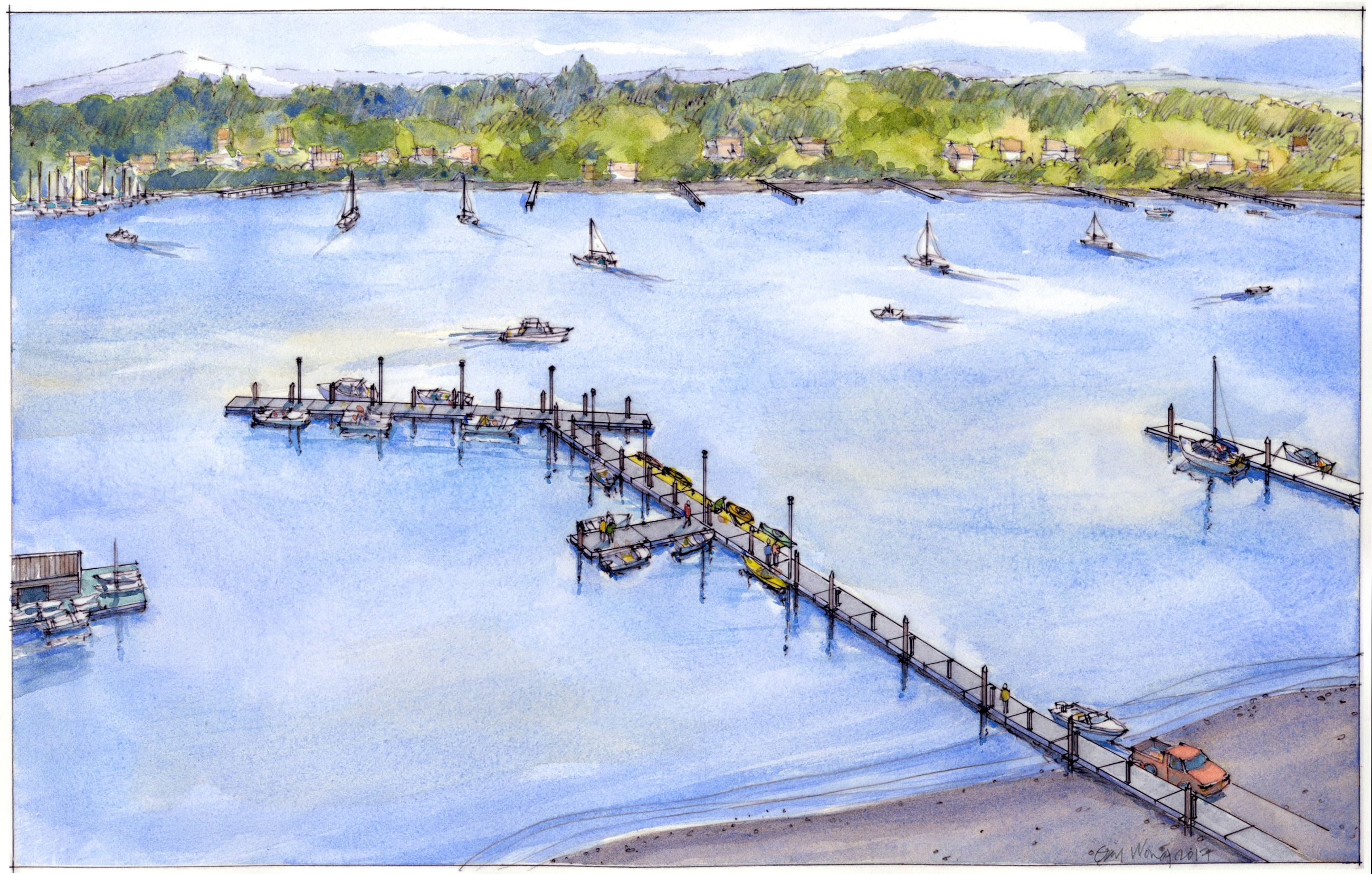 Watercolor painting of dock and moorage
