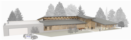 Police and Municipal Court Building Render