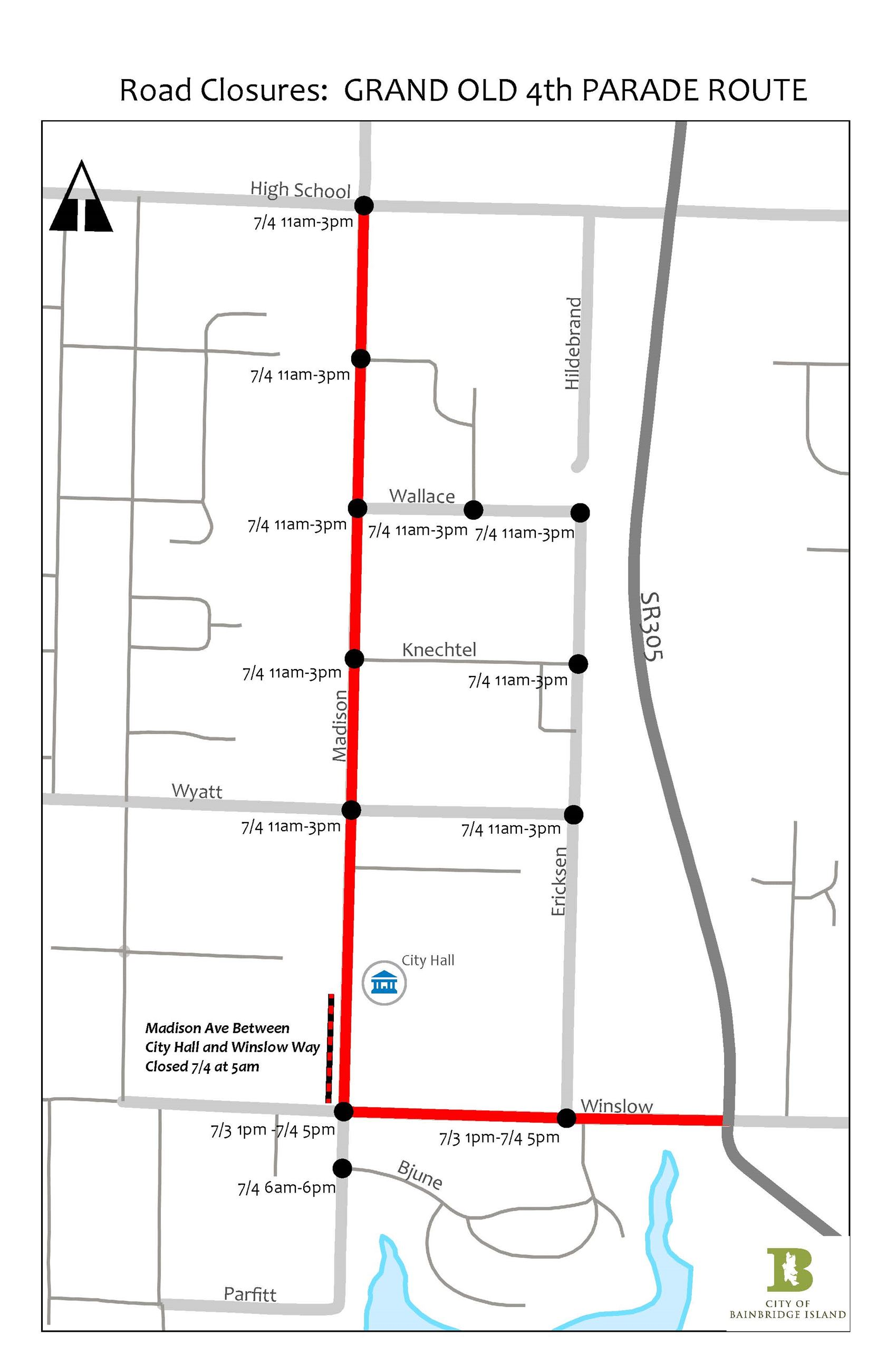 Parade Route and Road Closures 2019